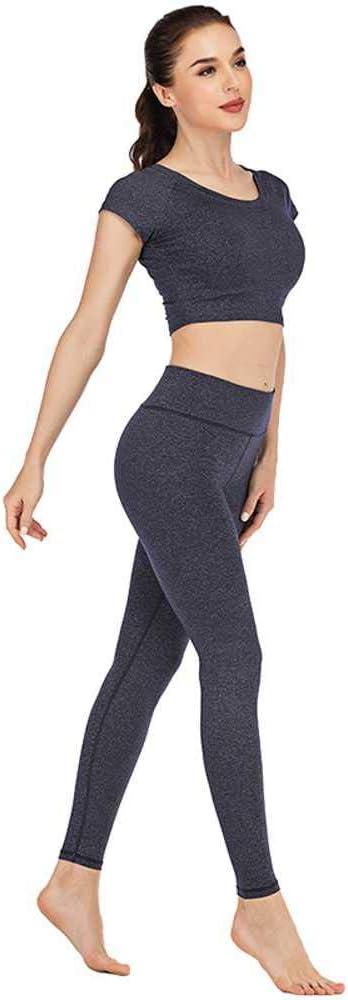NOBRAND Traje de Yoga de Nylon Ajustado y seco con sensación de Desnudo de Primavera, rocío Femenino, Pantalones de Yoga de Manga Corta Umbilical, Conjunto de Dos Piezas