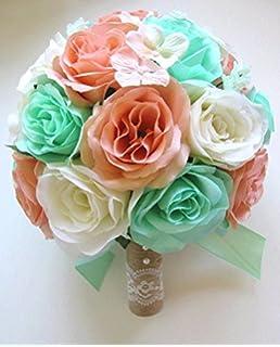 Amazon 17 pc wedding bouquet bridal silk flower coral teal wedding bouquets silk bridal flowers bouquet mint peach cream 17 piece package wedding bouquet wedding flower mightylinksfo