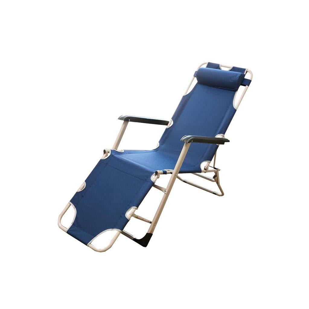 QZ HOME Stühle, Klappstuhl Sonnenliege Mittagspause Stuhl Liegestuhl Tragbar Einfach Haushalt Im Freien (Farbe   Blau)