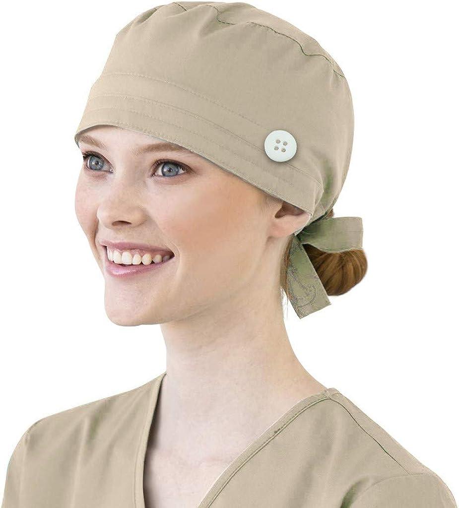 Mifelio Scrub Cap with Button Sweatband Adjustable Tie Back Fashion Print Bouffant Hats for Women Men(Multicolor)