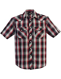 Men's Short Sleeve Plaid Western Shirt
