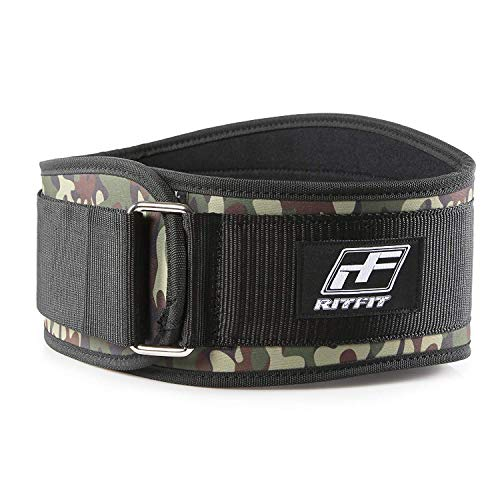 RitFit Weight Lifting Belt - Great for Squats, Crossfit, Lunges, Deadlift, Thrusters - Men and Women - 6 Inch Black (Camouflage, M(30-36