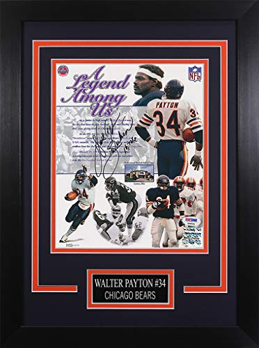 Walter Payton Autographed Bears Photo - Beautifully Matted and Framed - Hand Signed By Walter Payton and Certified Authentic by PSA - Includes Certificate of Authenticity - Design ()