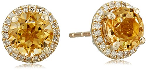 Earrings And Citrine Diamond (10k Yellow Gold Citrine and Diamond Stud Earrings (1/10cttw, I-J Color, I2-I3 Clarity))