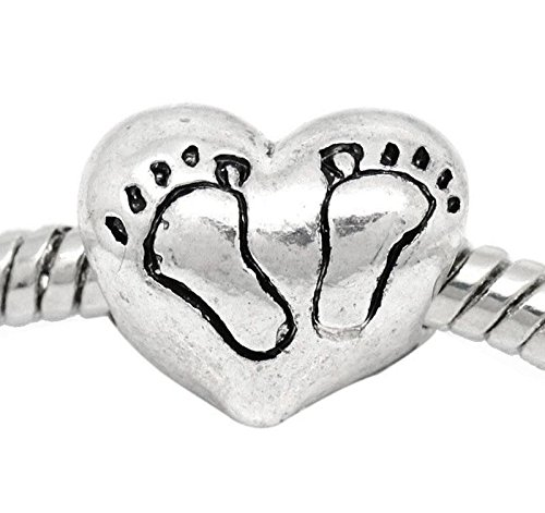 New Baby Footprint Heart Shower Gift Bead fits Silver European Charm Bracelets Crafting Key Chain Bracelet Necklace Jewelry Accessories Pendants ()