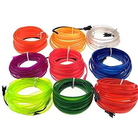 Global 5M 8MM Ancho Flexible Neon Cuerda Tubo LED Luz de tira para Dance Party Coche Decoración con controlador DC12V: Amazon.es: Iluminación
