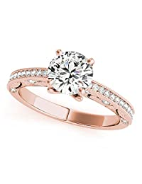 Silverczjewels 1.19 Carat White Diamond 14k Rose Gold Prong Set Wedding Engagement Ring