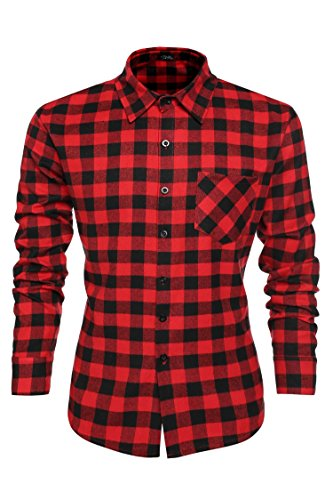 Gotchicon Men Casual Button Down Shirt Long Sleeve Plaid Dress Shirts ()