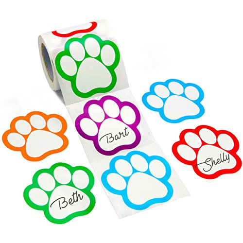 Paw Print Name Tags Labels Perforation Line Design Stickers 200 pcs 5 Assorted Colors