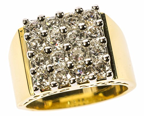 Sujak Jewelry Pave Square Russian Formula Cz's Men's Ring 18k Gold Overlay Size 12
