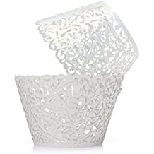 Gospire 50 pcs Pearl Lace Filigree Wedding Cupcake Wrapper Baking Cake Cups Wraps Party Decoration Laser Cut White