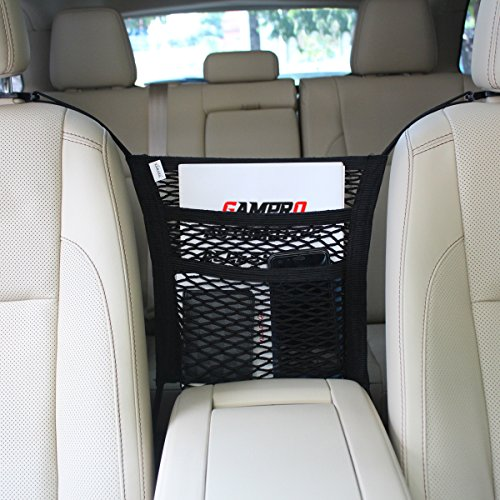 GAMPRO Car Seat Storage Mesh Organizer, 2-Pocket Auto Car Seat Armrest Cargo Net Organizer Stretchy Net Pouch Holder for Children Kids Pets Disturb Stopper Passenger Armrest Pouch