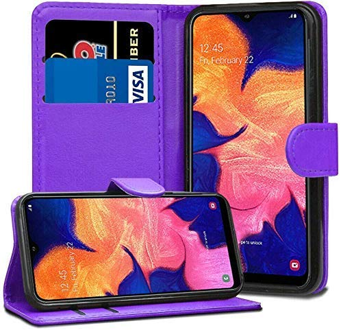 ASD Accessories Case For Samsung Galaxy A10 Leather Flip Card Wallet Cover Book Case (Purple)