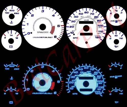 WHITE REVERSE GLOW GAUGES For 94-97 Dodge Ram AT/MT (Gauges Glow Speed)