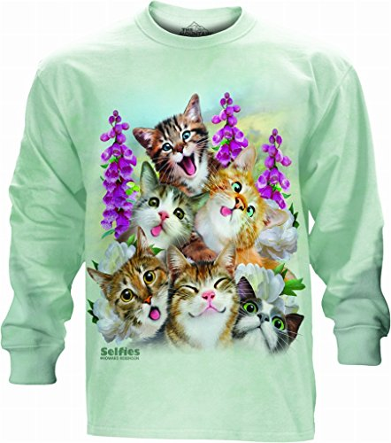 - The Mountain Kittens Selfie Pet Cats Adult Small Unisex Green Long-Sleeved T Shi