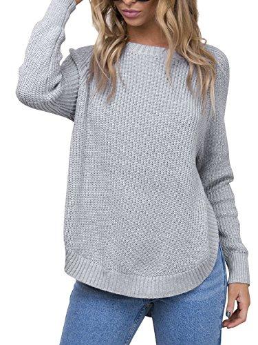 Simplee Women's Crew Neck Raglan Sleeve Knitted Pullover Sweater Side Split Gray One Size - Split Womens Sweaters