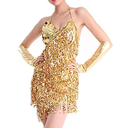 WOLIMAI Sexy Latin Dance Dress Sparkling Sequins Tassels Latin Dancing Ballroom Halloween Costumes Gold