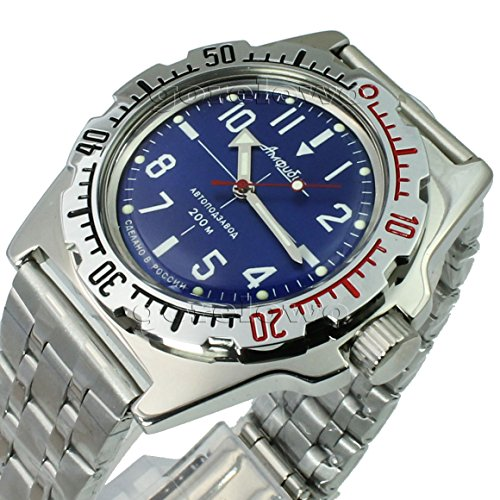 - Vostok Amphibian 110648 / 2415b Scuba Diving Russian Watches Mechanical Automatic Mens Blue