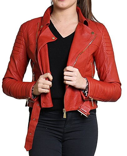 Zip Nouvelles Ou Or Femmes Biker Manteau Button Diana Metal Cuir Veste Animal Rouille Faux Ladies Crop Sw8gxxq5