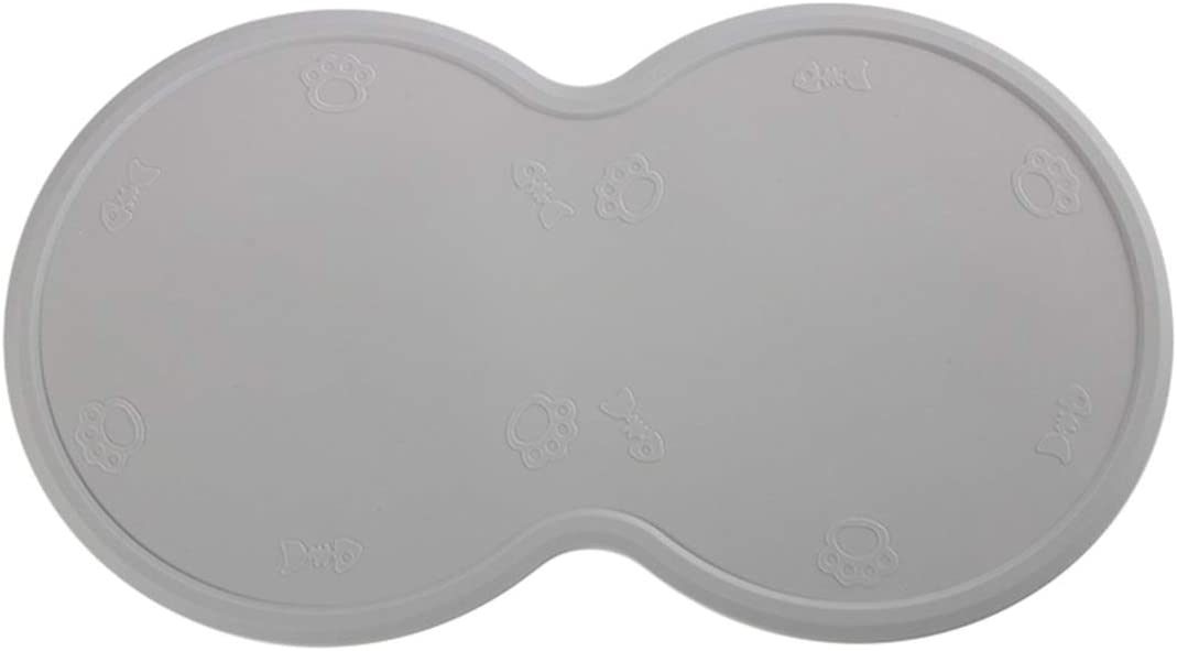 SH-RuiDu Silicone Pet Feeding Placemat Anti-Skid Spill-Proof Dog Cat Food Mat for 2 Bowls