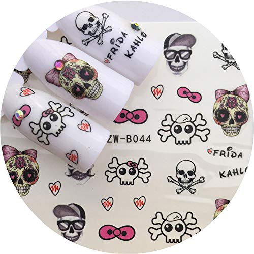 1 pcs Skull Halloween Plant Nail Sticker Water Decals Women White Flower Cat Butterfly Transfer Nail Art Decoration m1b8v,Light Grey -