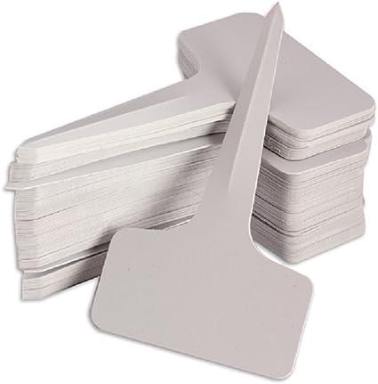 OUNONA 100 etiquetas de plástico impermeables para la guardería o el jardín, etiquetas de tipo T, etiquetas reutilizables para plantas (gris): Amazon.es: Oficina y papelería