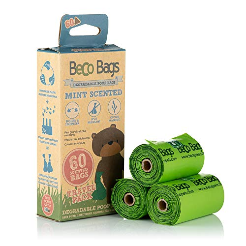 Beco, Strong & Large Poop Bags, Mint Scented Dog Poo Bags, Dispenser Compatible