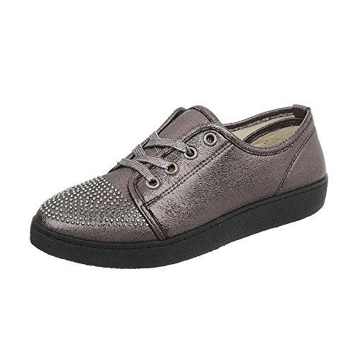 Ital-Design Sneakers Low Damenschuhe Sneakers Low Sneakers Schnürsenkel Freizeitschuhe Silber Grau AAA-41