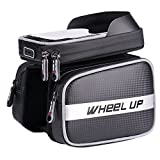 WHEEL UP Waterproof Bike Handlebar Bag Top Tube Bag Cycling Front Frame Bag with 6.2 inches Mobile Phone Holder with Waterproof Touch Screen - Upgrade Version