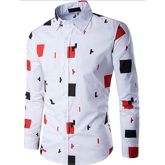 Bestow Camisa Casual de Manga Larga para Hombre Slim fit de Negocios Blusa Estampada Juego Superior Caballero británico: Amazon.es: Ropa y accesorios