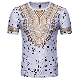 Kyпить AIMTOPPY Clearance, Men's Short-Sleeved African Print National Print T-Shirt top (XL, White) на Amazon.com