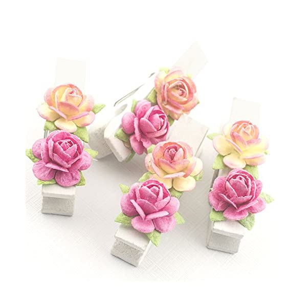 Summer-Ray 50 Handmade Mulberry Flower Decorated Mini White Wooden Clothespin Wedding Favors Decoration (Pink)