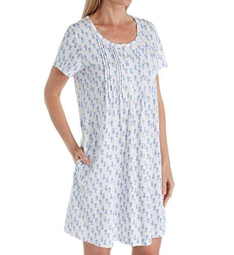 (Carole Hochman Women's Printed Henley Sleepshirt, Seahorse, L)