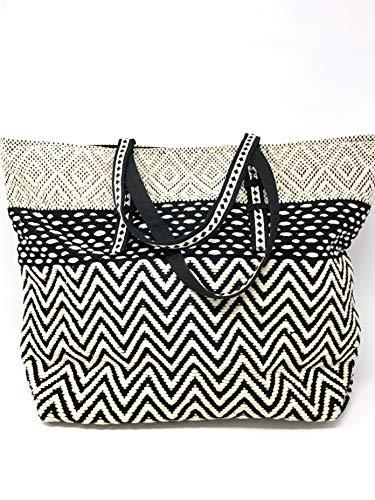 - The CAMILLA Bohemian Woven Geometric Chevron Stripe Tapestry Large Snap Close Tote Bag