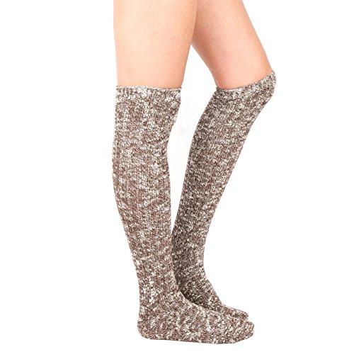 Women's Knee High Wool Socks Soft Warm Thick Thermal Girl Winter Cushion Crew Quarter  A-Dark brown  A-dark Brown One Size