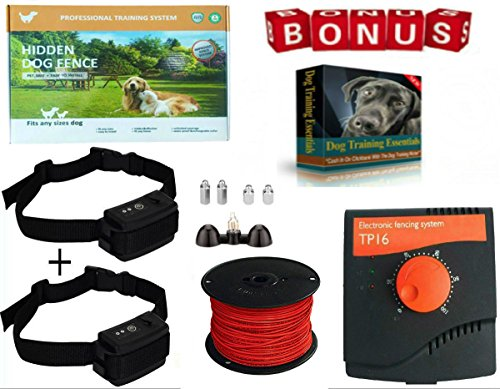 Underground Invisible Electric PetSafe Fence System,10 Acre Range 1000 Ft Wire, For 2 Dogs Over 8 Ib. 100% Waterproof, Rechargeable Wireless collar & Outdoor boundary Flags & Free Bonus Training Ebook by Earlyhights