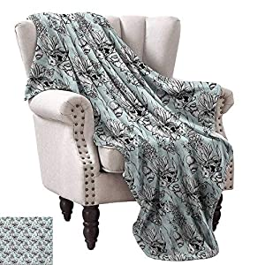 "WinfreyDecor Shabby Chic Blanket Sheets Vintage Monochrome Pond Water Flowers Lily Carp Snail Twigs Artwork All Season Light Weight Living Room 60"" Wx60 L Baby Blue Black White"