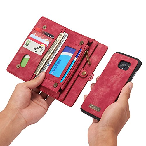 RAYTOP [Magnetic Removable Phone Case] + [11 Card Holders] + [4 Large Pockets] PU Leather Wallet for Samsung Galaxy S7 Edge [Magnet + Zipper + Button Closure] Dark Red Color Large Capacity Premium (Credit Card Machine Attached To Cell Phone)