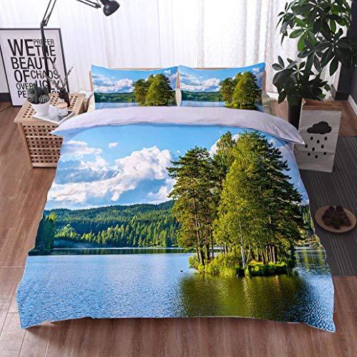 VROSELV-HOME Cotton Bedding Sets,Sognsvann Lake North of Oslo,Soft,Breathable,Hypoallergenic,Print Queen 1 Duvet Cover 2 Pillowcases Wrinkle Fade Resistant ()