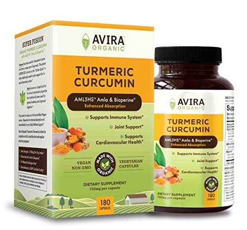 Avira Organic Turmeric Curcumin with Bioperine, Max strength – 2100mg Daily Serving, Non GMO, Made with Organic Turmeric…