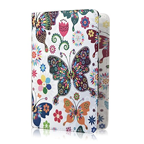 Passport Cover Holder Travel Wallet for Men & Women - Leather Passport Case- Securely Holds Passport, Business Cards, Credit Cards, Boarding Passes (Butterfly)