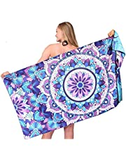 Sand Free Travel Beach Towel Blanket-Quick Fast Dry Super Absorbent Lightweight Thin Microfiber Towels for Pool Swimming Bath Camping Yoga Gym Bohemian