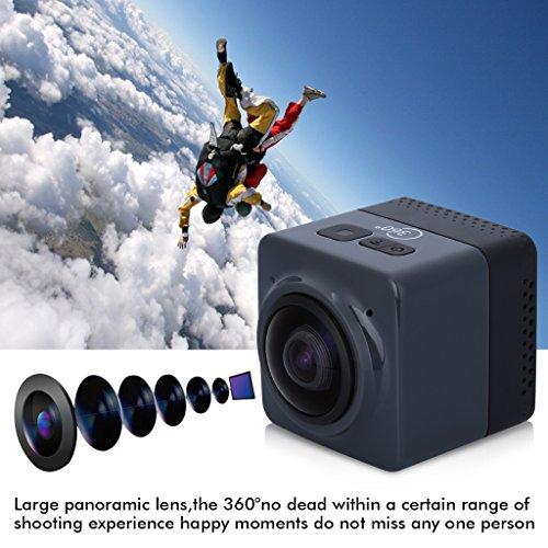 Floureon Cube 360 Degree Wide Angle Action Sports Camera Video DV WIFI H.264 1280x1042 Panorama Camera (Black) Floureon