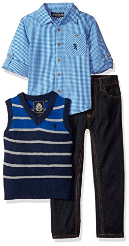 English Laundry Toddler Boys' Sweater, Sport Shirt and Pant Set (More Styles Available), HX19-Multicolor Plaid, (Toddler Set)