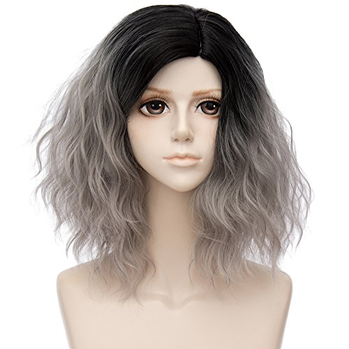 (Alacos 35cm Fashion Black Dark Roots Ombre Short Curly Bob Christmas Daily Costumes Wig for Women +Wig Cap (Silver Gray))