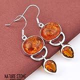 phitak shop European Style Teardrop Cognac Amber Brazil Citrine Gemstone Silver Earrings