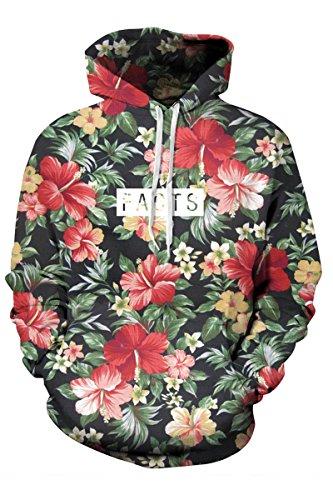 Mulisky Mens Digital Print Long Sleeve Active Hooded Sweatshirt Hoodies Floral