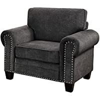 Homelegance Cornelia Rolled Arm Chair with Nail Head Accent Polyester Fabric Cover, Dark Grey