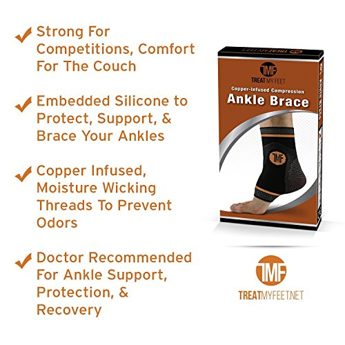 Ankle Compression Brace with Silicone Ankle Support and Anti-Microbial Copper. Plantar Fasciitis, Foot, Achilles Tendon Pain Relief. Prevent and Support Ankle Injuries & Soreness - M by Treat My Feet (Image #5)