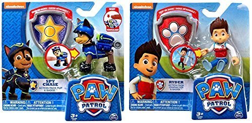 Paw Patrol 2 Pack Ryder and Spy Chase Action Packs with (Spy Badge)